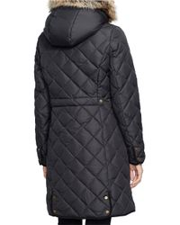 Lauren by Ralph Lauren | Black Sherpa And Faux Fur-trimmed Down Parka | Lyst