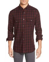French Connection | Blue 'route' Trim Fit Long Sleeve Plaid Sport Shirt for Men | Lyst