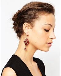 ASOS - Red 70s Statement Geo Bead Earrings - Lyst