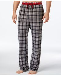 Tommy Hilfiger | Gray Fleece Plaid Pajama Pants for Men | Lyst