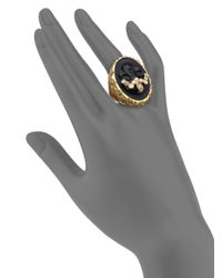 Alexis Bittar | Metallic Elements Muse D'Ore Black Agate & Crystal Skull Cameo Cocktail Ring | Lyst