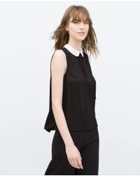Zara | Black Top With Contrasting Collar | Lyst
