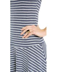 Paige Novick - Metallic Isabelle Collection 3 Row Ring with Stone Inset Shiny Goldturq Blue - Lyst