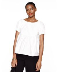 kate spade new york White Cotton Sateen Tiered Top