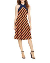 Lauren by Ralph Lauren Blue Color-blocked Jersey Dress
