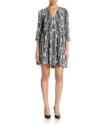 Essentiel | Black Printed Shift Dress | Lyst