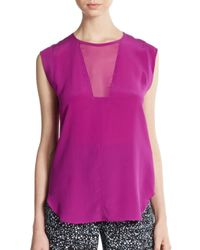 Rebecca Taylor - Pink Charlie Silk Hi-lo Top - Lyst