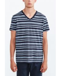 BDG Blue Vale Heather Stripe Standard-fit V-neck Tee for men