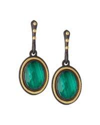 Armenta - Green Malachite Rope-Bezel Drop Earrings - Lyst