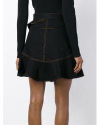 Givenchy Black Ruffled Denim Skirt