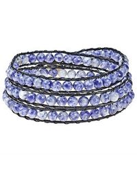 Aeravida - Blue Sodalite Treasure Triple Wrap Leather Bracelet - Lyst