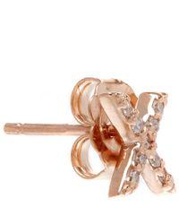 KC Designs - Pink Rose Gold Diamond X Single Stud Earring - Lyst