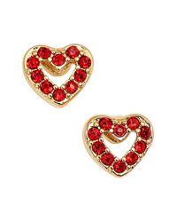 kate spade new york - Red 'love List' Heart Stud Earrings - Lyst