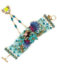 Betsey Johnson | Blue Gold-tone Seashell And Crab Hand-chain Bracelet | Lyst