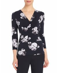 Ellen Tracy | Black Surplice Wrap Top | Lyst