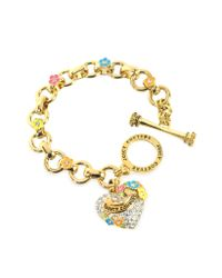 Juicy Couture | Metallic Pave Heart and Flower Charm Bracelet | Lyst