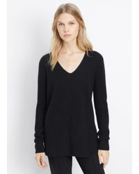 Vince - Black Cashmere Ribbed Fitted V-neck Sweater - Lyst