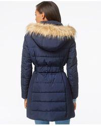 Tommy Hilfiger Blue Faux-fur-trim Belted Puffer Coat