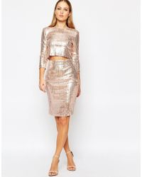 566f18278d TFNC London All Over Sequin Midi Skirt in Metallic - Lyst