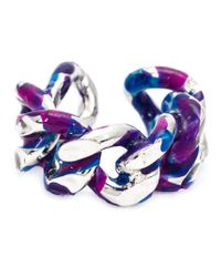 Gemma Redux - Blue Painted Chain Ring - Lyst