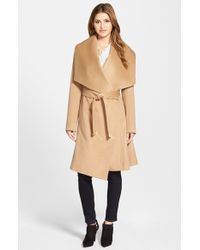 Diane von Furstenberg | Brown 'harlow' Drape Collar Wool Blend Wrap Coat | Lyst