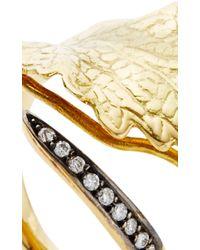 Ana Khouri - Metallic White Diamond And 18k Yellow Gold Leaf Ring - Lyst