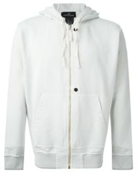 Stone Island | White Zipped Up Hoodie for Men | Lyst
