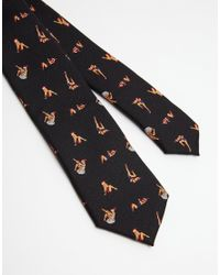 ASOS Black Christmas Tie With Pin Up Girls for men