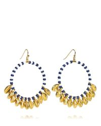 Tory Burch - Blue Mikah Beaded Hoop Earring - Lyst