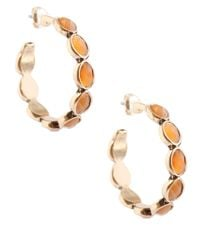 Lucky Brand | Metallic Stone Hoop Earrings | Lyst