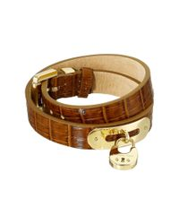Michael Kors | Brown Padlock Bracelet - Double Wrap Bracelet | Lyst