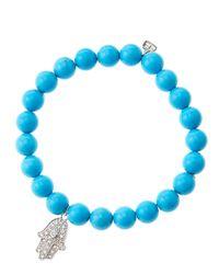 Sydney Evan - Blue 8Mm Turquoise Beaded Bracelet With 14K White Gold/Diamond Medium Hamsa Charm (Made To Order) - Lyst