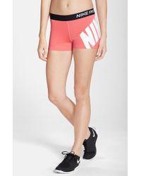Nike Orange 'Pro' Logo Shorts