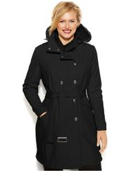 Calvin Klein Black Plus Size Double-Breasted Hooded Belted Soft-Shell Coat
