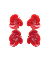 Oscar de la Renta - Red Resin Flower Drop Earring - Lyst