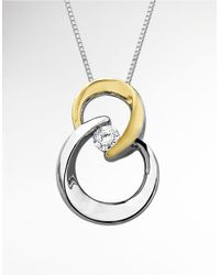 Lord & Taylor | Metallic Two Tone Pendant In Sterling Silver With 14k Yellow Gold | Lyst