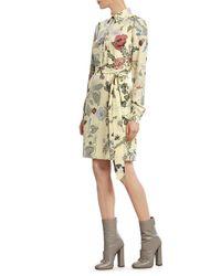 Gucci Yellow Flora Knight-Print Silk Shirt Dress