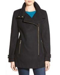 MICHAEL Michael Kors Black Asymmetrical Wool Blend Coat