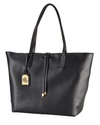Lauren by Ralph Lauren - Black Leather Two-Toned Tote - Lyst
