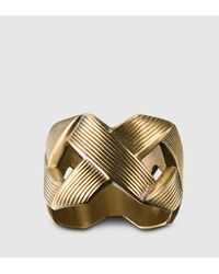 Gucci - Metallic Ring With Crisscross Design for Men - Lyst