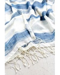 Urban Outfitters - Blue Thick + Thin Stripe Open Poncho - Lyst