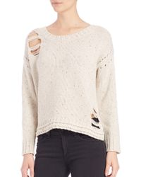 Wildfox | White Dinner Party Distressed Crewneck Sweater | Lyst