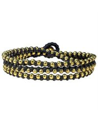 Aeravida | Multicolor Triple Wrap Mini Brass Beads Single Strand Black Cotton Rope Bracelet | Lyst