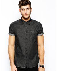 ASOS Black Denim Shirt In Short Sleeve With Embossed Studs for men