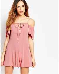 ASOS - Pink Cold Shoulder Woven Playsuit With Lace Up Detail - Lyst