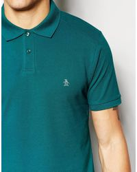 Original Penguin Blue Slim Fit Polo Shirt for men