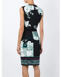 Roberto Cavalli - Black Floral Print Fitted Dress - Lyst