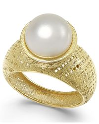 Macy's | Metallic Cultured Freshwater Pearl Ring In 18k Gold Over Sterling Silver (9-1/2mm) | Lyst