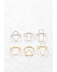 Forever 21 | Metallic Geo Shapes Ring Set | Lyst