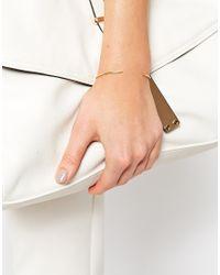 ASOS | Metallic Gold Plated Sterling Silver Fine Oval & Spike Bangle Bracelet | Lyst